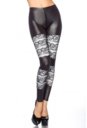 Stylish wetlook lace leggings
