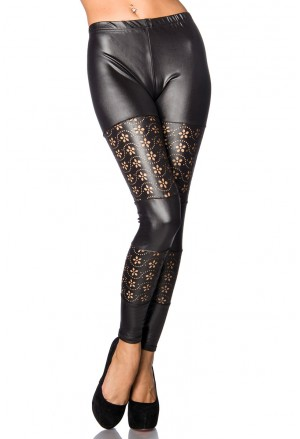 Trendy wetlook black leggings with laser cut floral