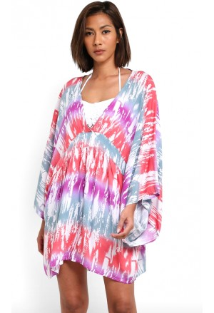 Multicolor Tie Dye Print Hawaii Beach Cover Up