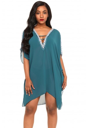 Delicate Embroidery Cold Shoulder Sheer Mesh Cover Up