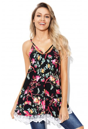 Lace Hem Floral Strappy Cami Top