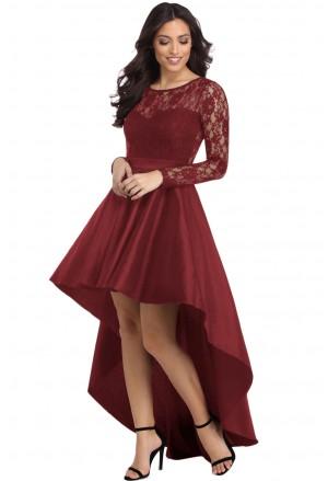 Asymetrické burgundy čipkované šaty