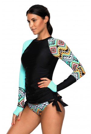 Contrast Detail Long Sleeve Tankini Swimsuit