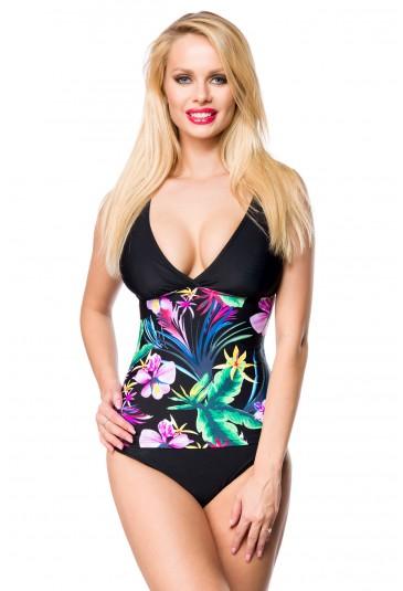 Vibrant Floral Splice 2pcs Tankini Swimsuit