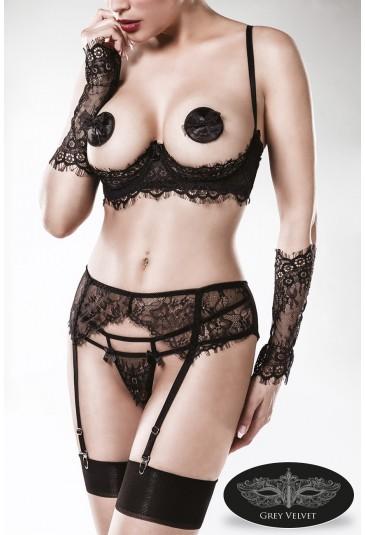 GREY VELVET premium set of 5 piece black lace lingerie
