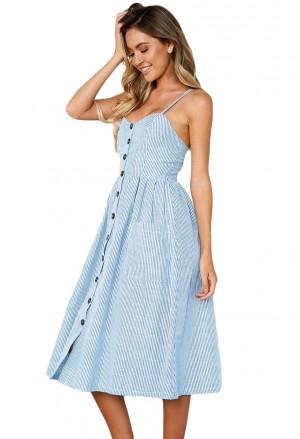 Blue White Striped Button Down Mid Calf Dress