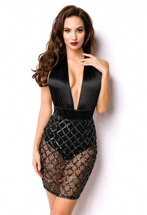 Extravagant transparent deep plunge sequins dress
