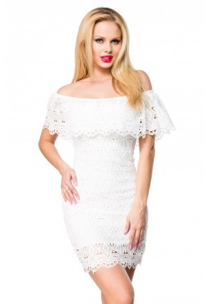 Romantic short lace dress with off shoulder frill