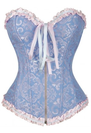 Blue corset vamp with zipper