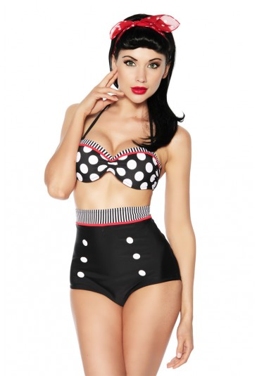 Push up vintage bandeau high waisted swimsuit