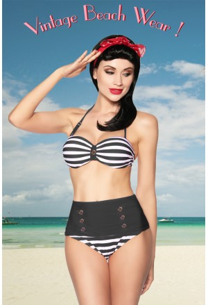 Vintage marine bandeau high waisted swimsuit