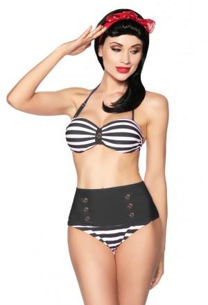 Bandeau vintage plavky s vysokým pásom