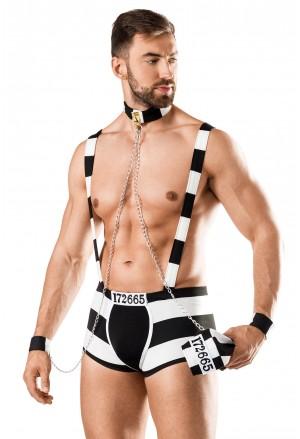 Vzrušujúci striptérsky pánsky kostým väzeň