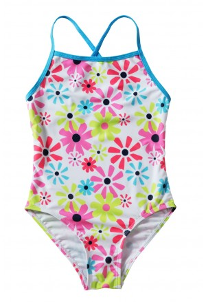 Little Girls' Cross-Back Sunflower One Piece Swimsuit
