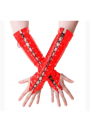 Fashion Red Long Lace-up Fingerless Gloves