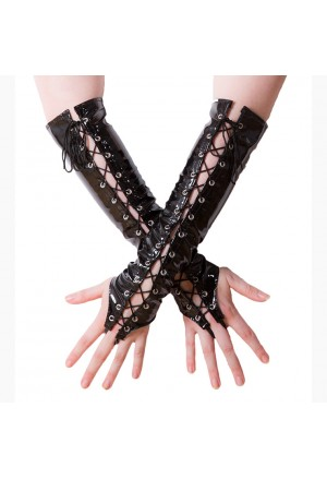 Fashion Black Long Lace-up Fingerless Gloves