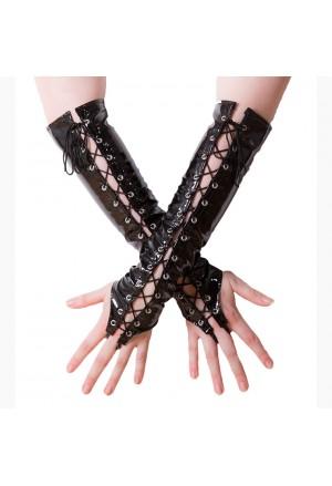 Vinylové čierne rukavice so šnurovaním