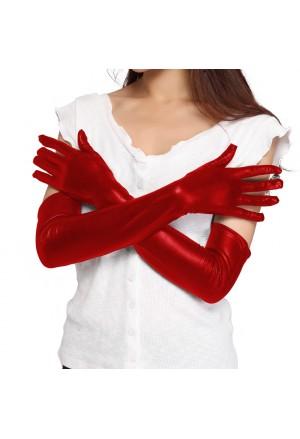 Dlhé lesklé červené koženkové wetlook rukavice