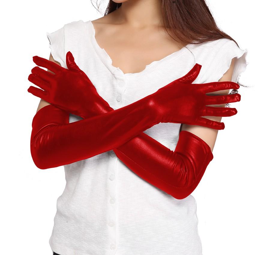 Dlhé lesklé červené koženkové wetlook rukavice - SELECTAFASHION.COM ac93f832475