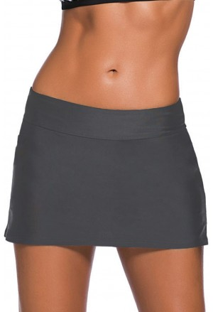 Grey Skirted Swim Bikini Bottom