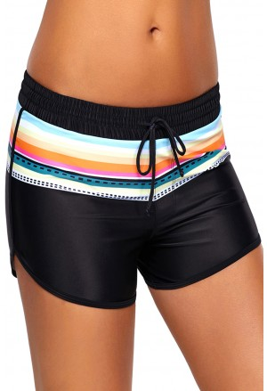 Striped Print Accent Black Drawstring Board Shorts