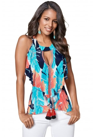 Leaf Print Tassel Trim Vest Top