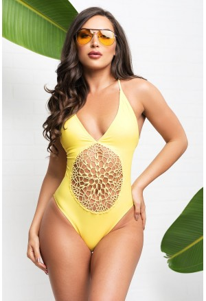 Yellow Crochet Front Detail One Piece Bathing Suit