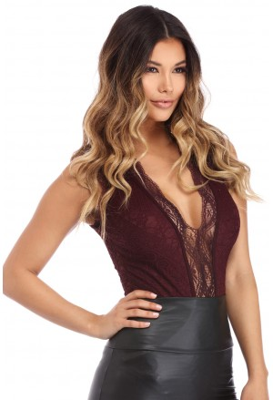 Wine V Neck Hollow-out Lace Bodysuit