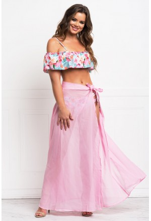 Pink Sheer Wrap Maxi Beach Skirt
