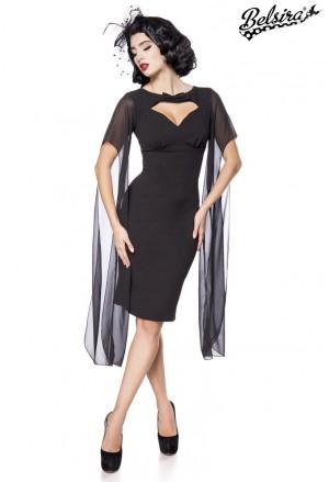 Elegant slim black retro dress Belsira