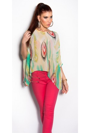 Summer print chiffon tunic blouse top