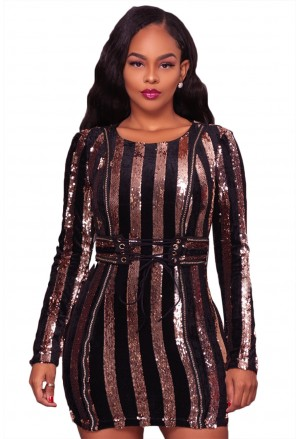 Glittering Silver Sequined Lace-up Waist Mini Dress