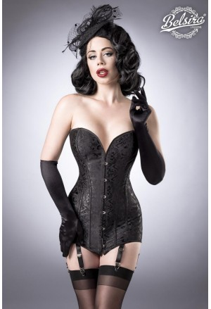 Black steel brocade corset by Belsira