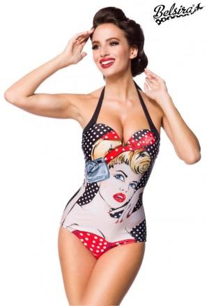 Vintage jednodielne plavky s pop art potlačou
