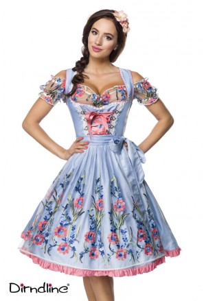 Premium floral blue dirndl dress Octoberfest costume
