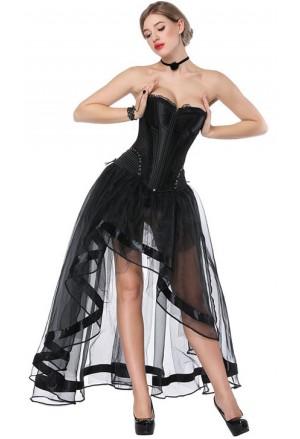 Čierna burleska tylová sukňa ku korzetom