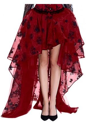 Červená korzetová sukňa z organzy