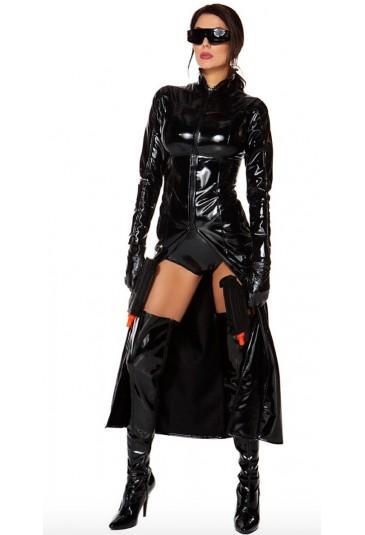 Sexy long wetlook coat Matrix inspiration
