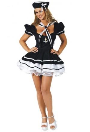 Krásny kostým - krátke námornícke šaty