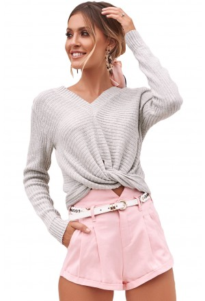 Chic V Neck Twisted Sweater
