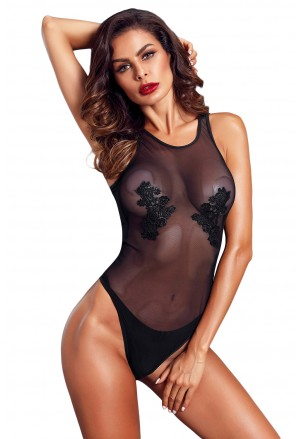 Mesh and Guipure Lace Teddy