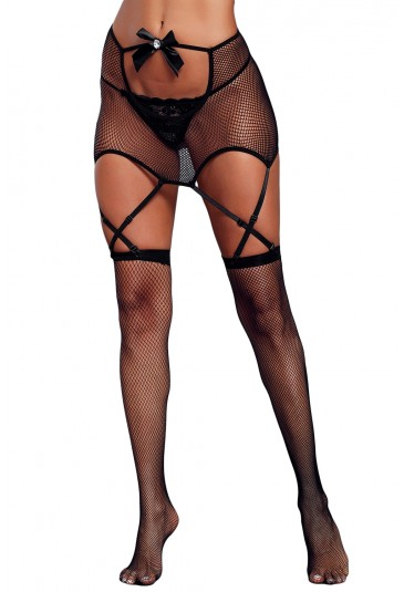 Black Cutout Top Garter Belt with Fishnet Stockings