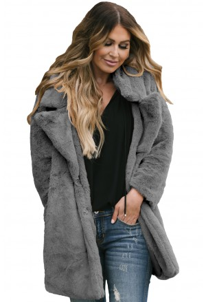 Elegant gray pocket shaggy women faux fur coat