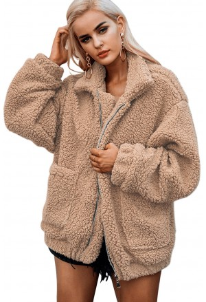 Winter lamb wool zipped chunky coat jacket