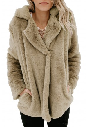 Elegant khaki shaggy women faux fur coat