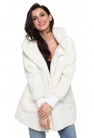 White soft fleece hooded open front coat