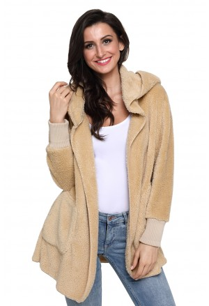 Camel soft fleece hooded open front coat