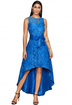 Royal blue sleeveless lace overlay bow sash party dress