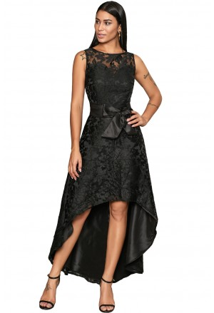 Black sleeveless lace overlay bow sash party dress