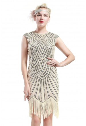 1920s Sleeveless V Neck Sequin Inspired Cocktail Fringed Flapper Dress
